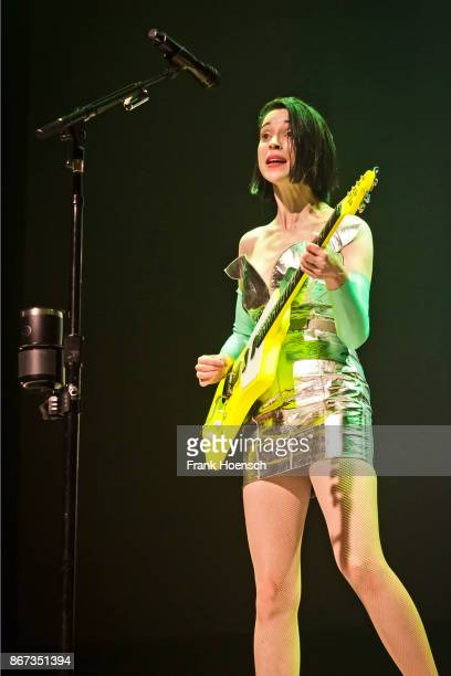 American singer Annie Clark aka St. Vincent performs live on stage during a concert at the Huxleys on October 26, 2017 in Berlin, Germany.