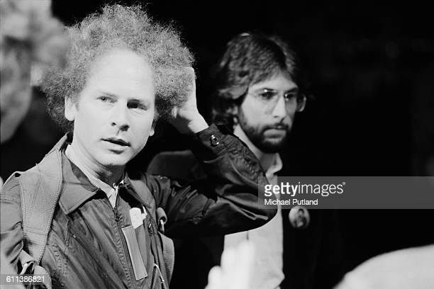 American singer Art Garfunkel and singersongwriter Stephen Bishop at rehearsals for the NBC comedy sketch show 'Saturday Night Live' New York City...