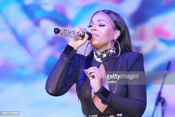 American singer Ashanti performs at afterparty of presentation BraVo international music awards at the 'Mir' Banquet room on March 18 2017 in Moscow...