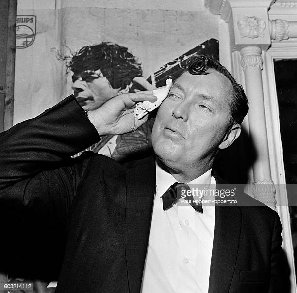 American singer Bill Haley after performing on stage at the Princess night club in Manchester circa 1968