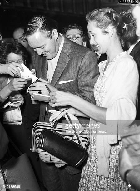 American singer Bill Haley is rushed by autograph hunters at the State Ballroom Sydney 7 January 1957 SMH Picture by Ted Golding