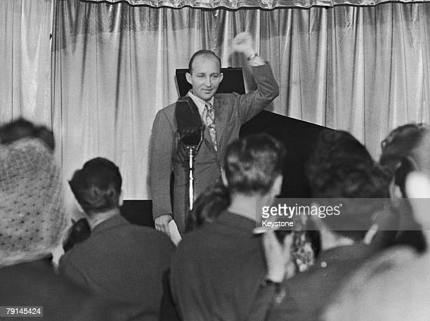 American singer Bing Crosby broadcasting from the Stage Door Canteen London 31st August 1944