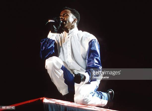 American singer Bobby Brown performs on stage at the Festhalle in Frankfurt Germany in 1990