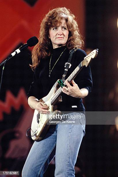 American singer Bonnie Raitt performs at a concert held at Wembley Stadium to celebrate the release of African National Congress leader Nelson...