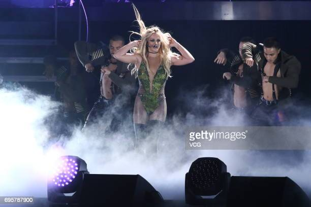 American singer Britney Spears performs during her concert at TWTC Nangang Exhibition Hall on June 13 2017 in Taipei Taiwan of China