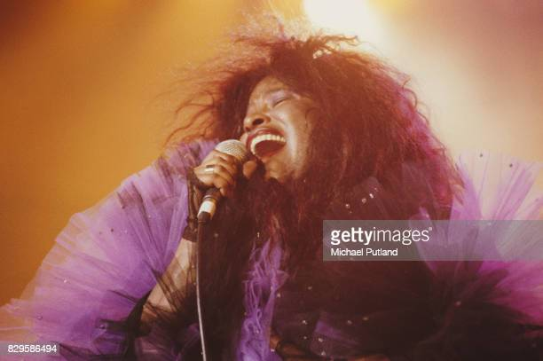 American singer Chaka Khan performs on stage at the Prince's Trust Rock Gala Royal Albert Hall London 18th July 1990
