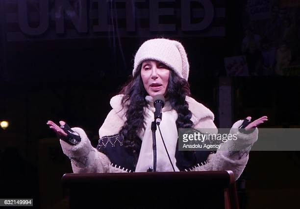 American singer Cher gives a speech as people gather in front of Trump International Hotel Tower in New York USA on January 19 2017 during a...