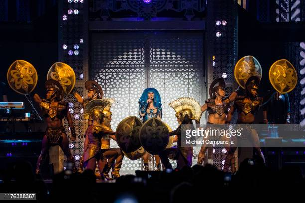 American singer Cher performs live on stage during a concert at the Friends Arena on October 17 2019 in Stockholm Sweden
