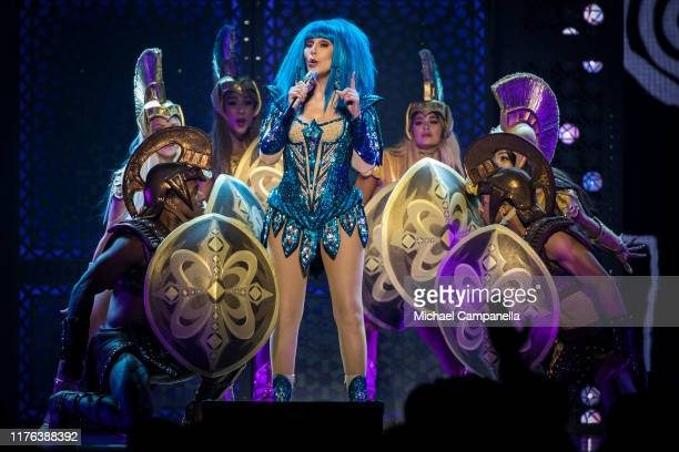 American singer Cher performs live on stage during a concert at the Friends Arena on October 17, 2019 in Stockholm, Sweden.