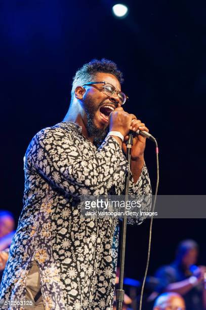 American singer Chris Turner performs with the Revive Big Band at a dual celebration of Blue Note's 75th anniversary and Okayplayer's 15th at Central...