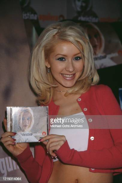 American singer Christina Aguilera promoting her debut album at the Wherehouse music store in Beverly Hills, California, 24th August 1999.