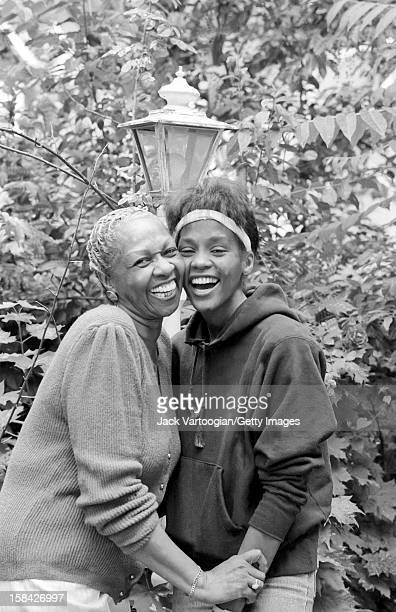 American singer Cissy Houston and her daughter singer and actress Whitney Houston in the backyard of her home West Orange New Jersey May 28 1985