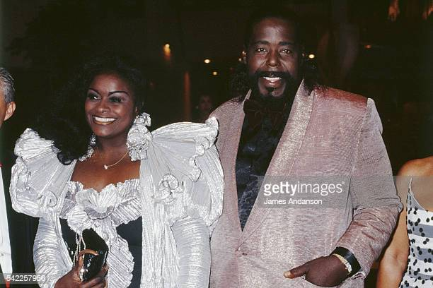 American singer composer and songwriter Barry White and his wife American singer Glodean James attending the 1988 Monaco Red Cross ball