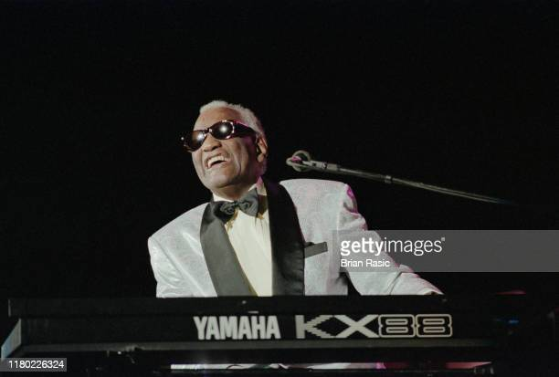 American singer, composer, songwriter and musician Ray Charles performs live on stage at Wembley Arena in London on 19th June 1996.