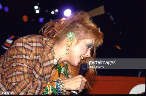 American singer Cyndi Lauper performs on stage mid 1980s