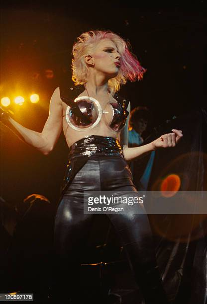 American singer Dale Bozzio performing with Missing Persons circa 1985
