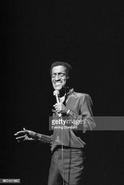 American singer dancer actor and comedian Sammy Davis Jr performing on stage UK 27th October 1978