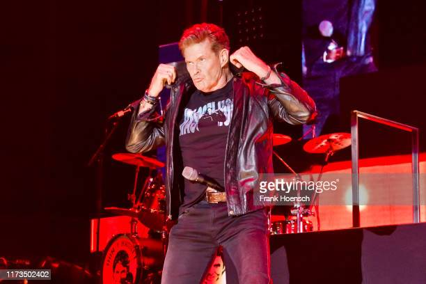 American singer David Hasselhoff performs live on stage during a concert at the Max-Schmeling-Halle on October 3, 2019 in Berlin, Germany.