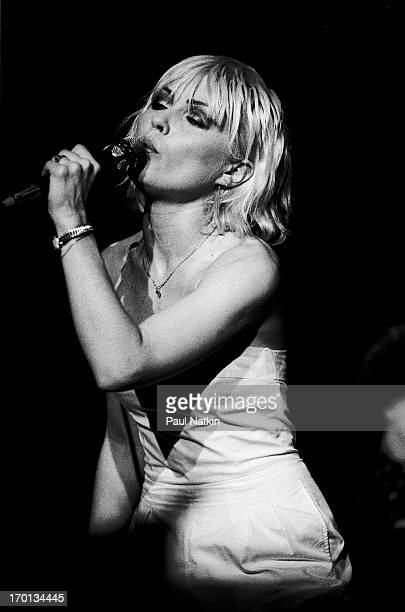 American singer Debbie Harry of the band Blondie performs on stage at the Park West theater Chicago Illinois July 25 1979