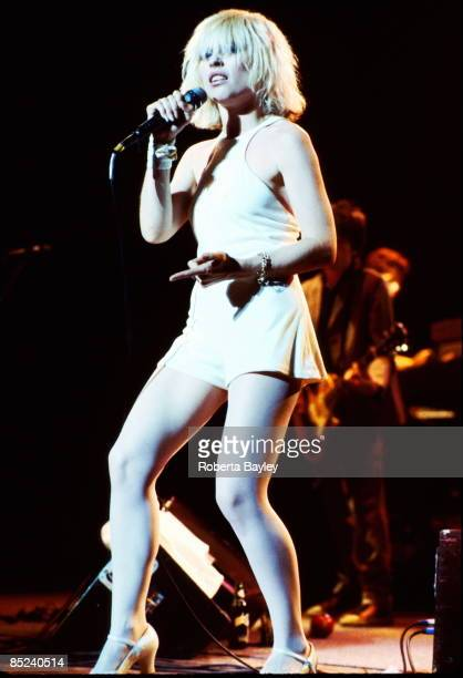 American singer Debbie Harry performing with Blondie at the Aladdin Theater Las Vegas during the group's Parallel Lines tour 9th August 1979