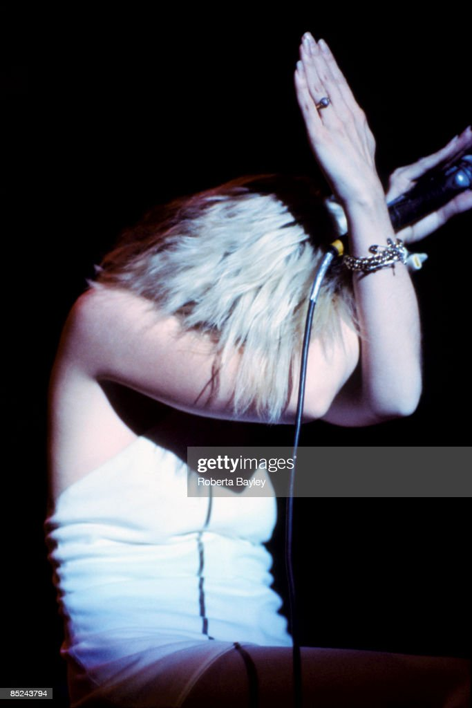 American singer Debbie Harry performing with Blondie at the Aladdin Theater, Las Vegas, during the group's Parallel Lines tour, 9th August 1979.