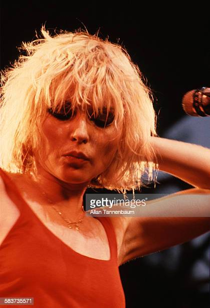 American singer Debbie Harry performing with Blondie at the Dr Pepper Central Park Music Festival at Wollman Rink in Central Park New York City 9th...