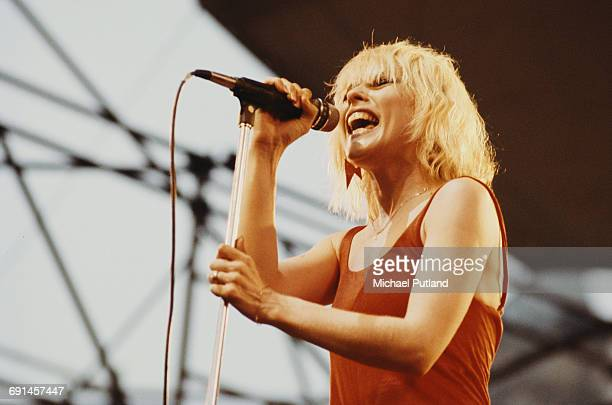 American singer Debbie Harry performing with Blondie at the Dr. Pepper Central Park Music Festival at Wollman Rink in Central Park, New York City,...
