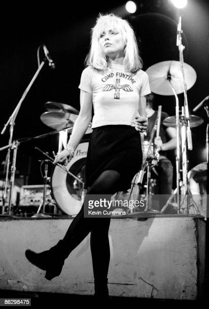 American singer Debbie Harry performing with Blondie at the Free Trade Hall Manchester England 26th May 1977 The band were supporting Television