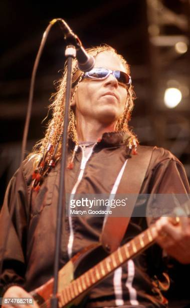 American singer Dexter Holland of Offspring performs on stage United Kingdom circa 1995