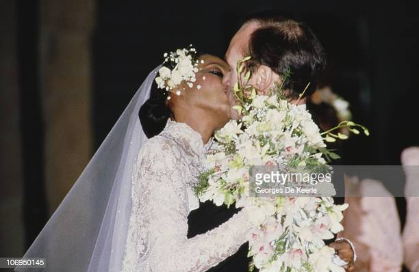 American singer Diana Ross during her church wedding to Norwegian businessman Arne Næss Jr in Romainmotier Switzerland 1st February 1986 The couple...