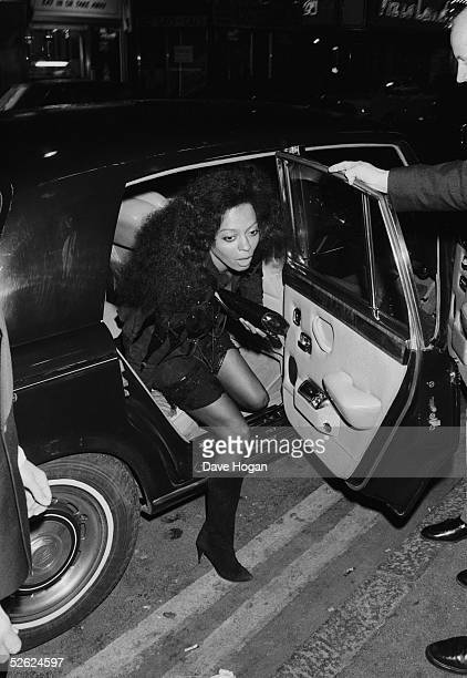 American singer Diana Ross emerges from a Rolls Royce, May 1986.