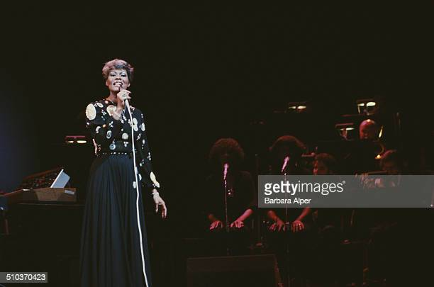 American singer Dionne Warwick in performance at Radio City Music Hall, New York City, 12th June 1980.