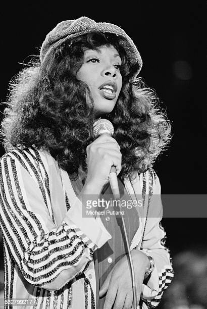 American singer Donna Summer performing at 'The Music for UNICEF Concert A Gift of Song' benefit concert held at the United Nations General Assembly...