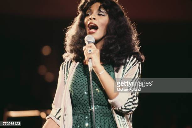 American singer Donna Summer performs at 'The Music for UNICEF Concert A Gift of Song' benefit concert held at the United Nations General Assembly in...