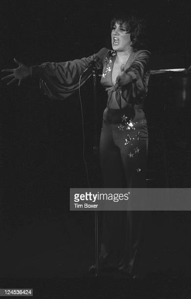 American singer entertainer and cabaret star Lorna Luft the daughter of Judy Garland performing onstage possibly during the opening night performance...