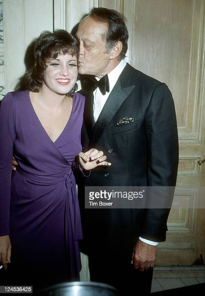 American singer entertainer and cabaret star Lorna Luft the daughter of Judy Garland receives a kiss from her father Sid after the opening night...