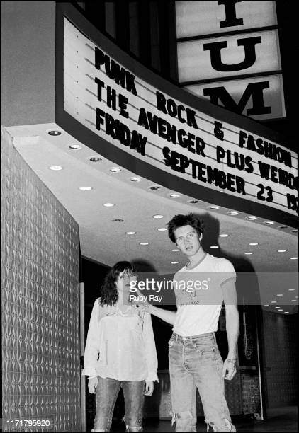 American singer Exene Cervenka and American singer and musican John Doe, of Los Angeles punk band X, outside the Hollywood Palladium, the line-up of...