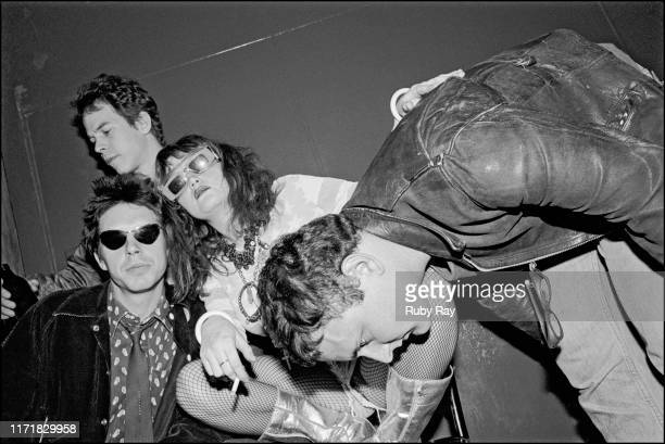 American singer Exene Cervenka and American singer and musican John Doe of Los Angeles punk band X Pat 'Rand' Garrett of Dangerhouse Records and...