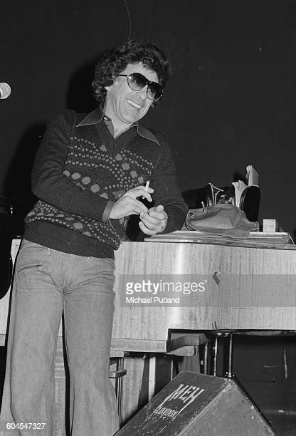 American singer Frankie Valli of pop vocal group Frankie Valli and the Four Seasons at a rehearsal in London 1st April 1976