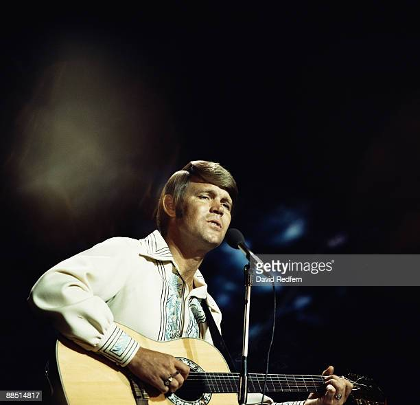 American singer Glen Campbell performs on a tv show in London circa 1974.