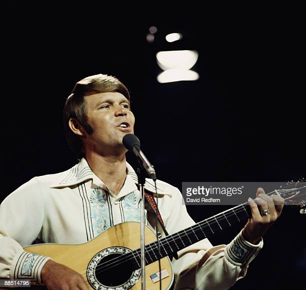 American singer Glen Campbell performs on a TVshow in London circa 1974.