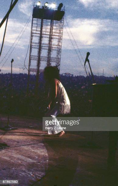 American singer Grace Slick of the band Jefferson Airplane performs on stage at the Woodstock Music and Arts Fair in Bethel New York August 17 1969...