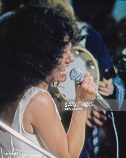 American singer Grace Slick of the group Jefferson Airplane performs on stage during the Woodstock Music and Arts Fair Bethel New York August 17 1969...