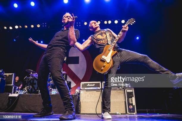 American singer Gregory Walter Graffin aka Greg and american guitarist Brian Baker of Bad Religion performs live on stage during a concert at the...