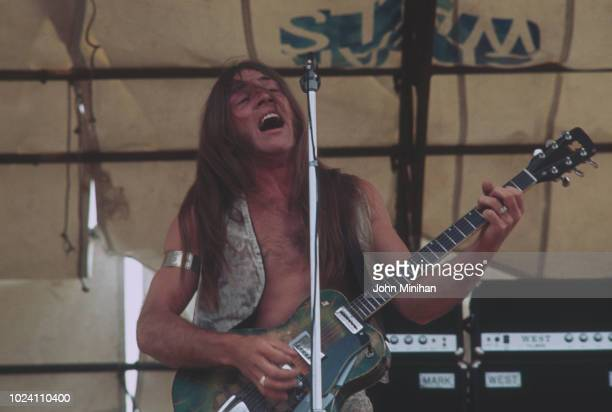 American singer, guitarist and songwriter Mark Farner of rock group Grand Funk Railroad performing at Hyde Park Free Concert, London, UK, 3rd July...