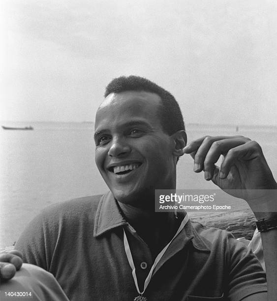 American singer Harry Belafonte portrayed while smiling Venice 1958