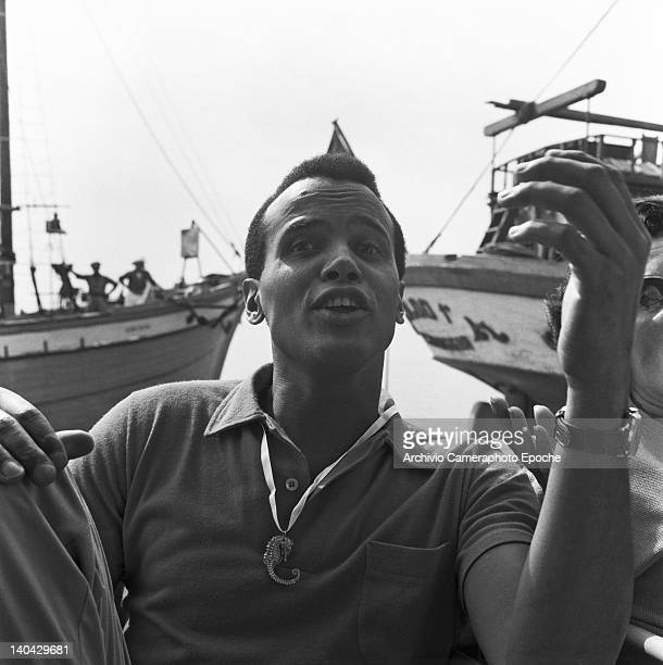 American singer Harry Belafonte portrayed while talking Venice 1958