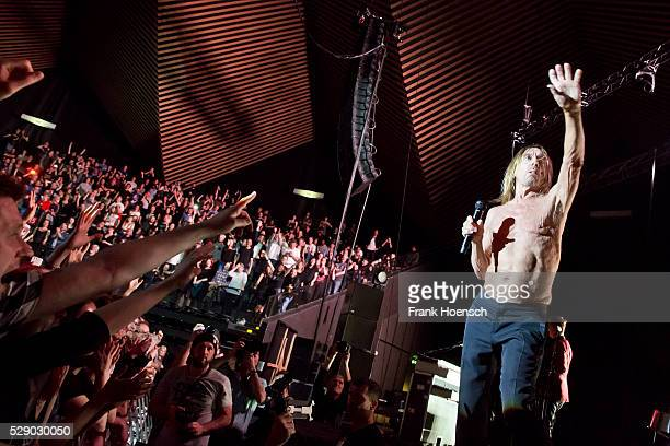 American Singer Iggy Pop performs live during a concert at the Tempodrom on May 7 2016 in Berlin Germany