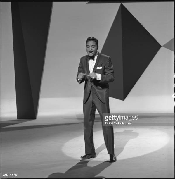 American singer Jackie Wilson performs on an episode of 'The Ed Sullivan Show' New York New York December 4 1960
