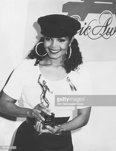 American singer Janet Jackson with her Sammy Davis Jr Entertainer of the Year Award at the Sixth Annual Soul Train Music Awards held at Shrine...